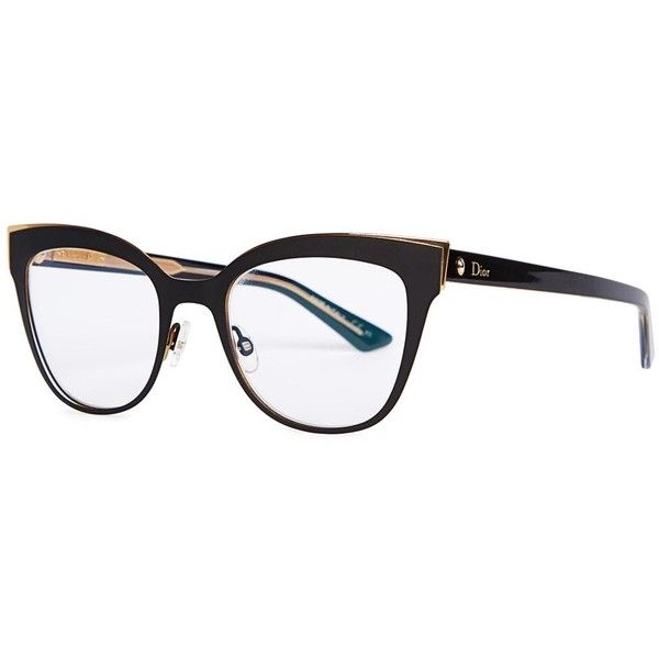 Womens Optical Christian Dior Montaigne 11 Black Optical Glasses (£265) ❤ liked…