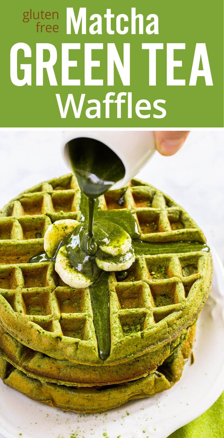 Protein rich, healthy matcha green tea waffles. Made with matcha green tea powder, oat flower, coconut milk, egg, olive oil, honey and banana. Gluten free and clean eating.  #BolthouseFarms #ad www.platingpixels.com