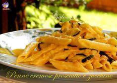 Penne cremose prosciutto, zucchine e zafferano, ricetta primi