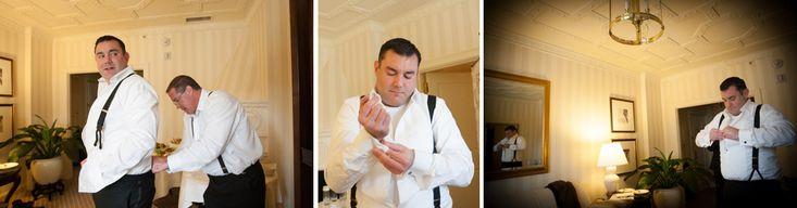groom getting ready at Hay Adams Hotel  Washington DC