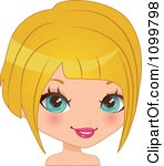Pretty Blue Eyed Blond Woman With A Bob Hair Cut