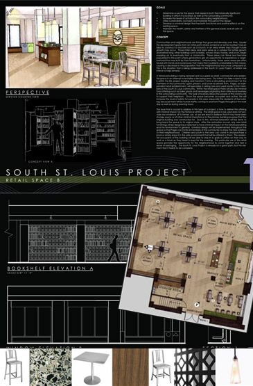 don't like the angled plan - but otherwise interesting. interior design presentation board