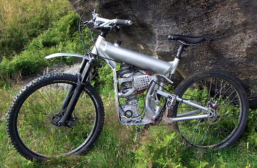 Every time someone builds a motorcycle, the question of weight pops up. No matter how light you go, it's always too heavy for someone else. Well, how about 62 pounds? This home built mountain bike ...