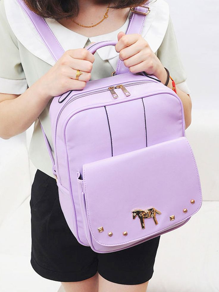 Purple Backpack With Alloy Horse Decorate | abaday