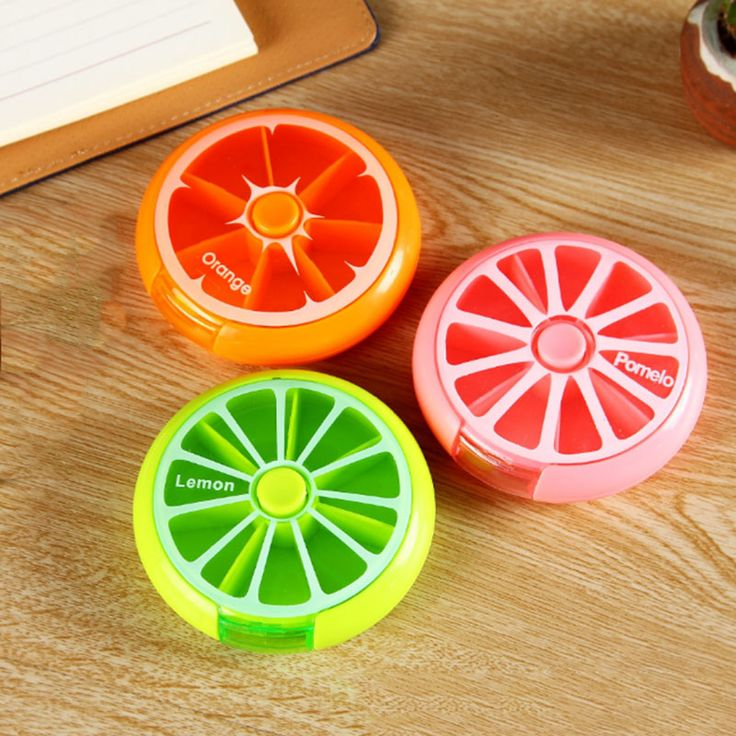 1pc Round Pill Box Rotating Medicine Case Holder Travel Portable Drugs Container Organizer Storage Box Bins Cute Candy Color #Affiliate