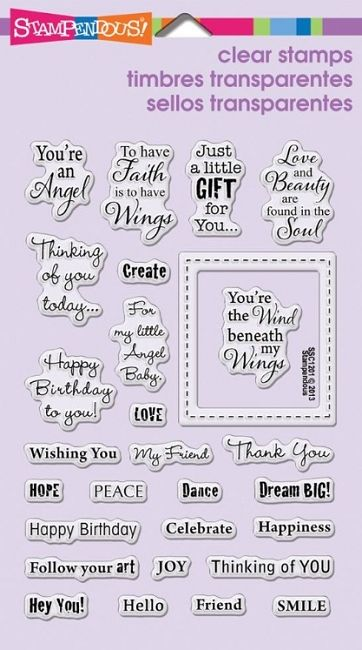 Stampendous Perfectly Clear Stamp - Angel Wing Quotes,$14.99