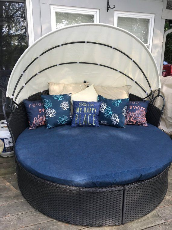 Round Daybed Outdoor Fitted Cover Soil And Stain Resistant Washable Adjustable Drawstring Solid And Print Fabric Options Available Outdoor Daybed Daybed Covers Bed Cushions