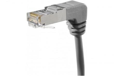 RJ45 coudé  - Cordon répondant à la catégorie CAT.5e  - Testé par certificateur LAN 100 Mhz  - Câble en AWG 26/7 brins blindé  - Impédance 100 Ohm  - Conducteur cuivre  - Blindage feuille aluminium  - Gaine PVC  - Norme de câblage EIA/TIA