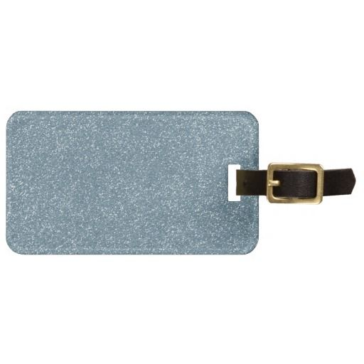 PANTONE Aquamarine baby blue with faux Glitter Bag Tag