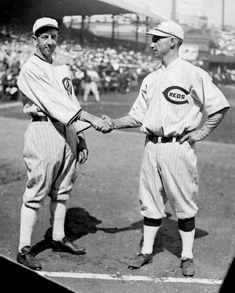 """Eddie Collins, Heinie Groh, 1919 World Series. This appears before Game One. Groh and Collins about 5'9"""". Players this height would not even be scouted today. Collins in Hall of Fame, Groh played 15 years, over 1700 hits."""