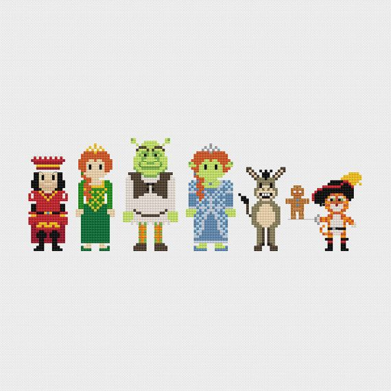 Shrek (Lord Farquaad, Princess Fiona, Shrek, Princess Fiona (Ogre), Donkey, Gingerbread Man, & Puss in Boots) inspired cross stitch pattern PDF instant download includes:    Full color, easy-to-read chart with color symbols and DMC thread legend  Bonus: Cross-stitching Basics PDF  ________________________________    Pattern Details:  Fabric: Aida 14 ct  Grid Size: 133W x 49H  Design Area: 9.07 x 3.07 (127 x 43 stitches)  DMC Colors: 21  ________________________________    * This is not a ...