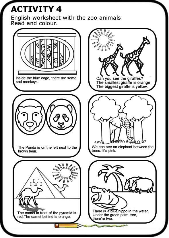 Animales salvajes en inglés Ficha para imprimir. Lee y colorea ...