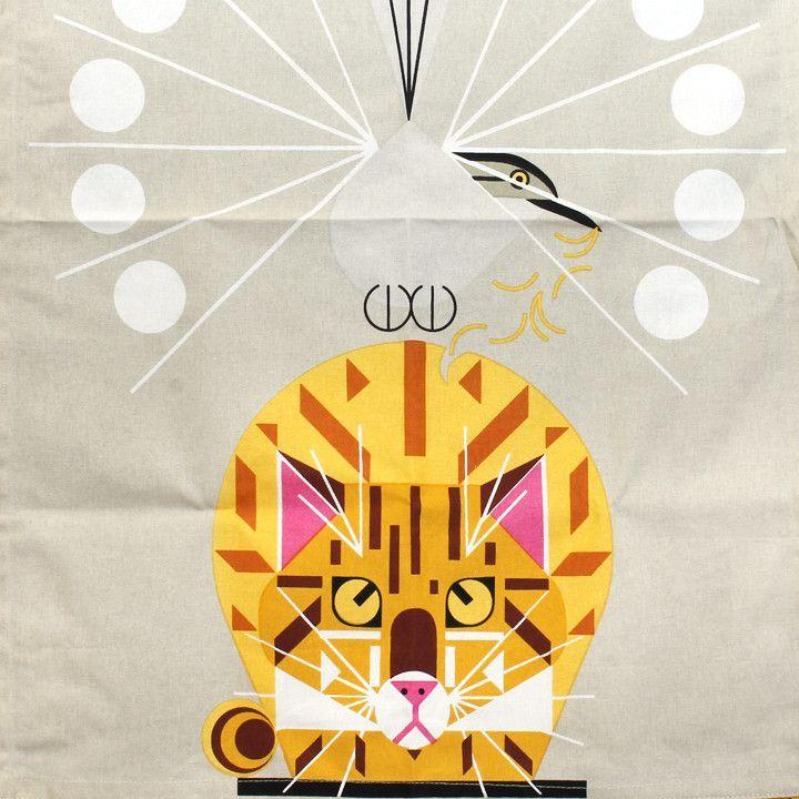 "100% Flax kitchen towel featuring Charley Harper's Designs. 20"" x 28"""