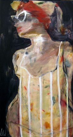 Esther Erlich  Shades 1 - 2013  Acrylic on canvas  56 x 31 cm