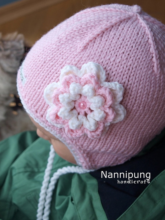 Knit earflap hat for babies and kids