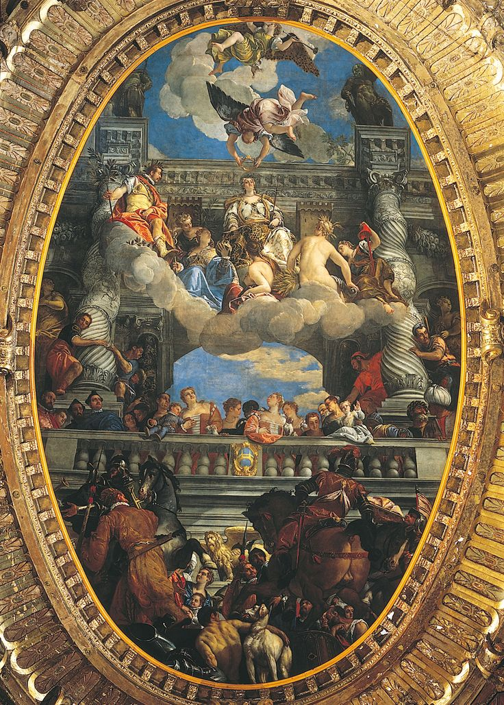 "PAOLO VERONESE, Triumph of Venice, ceiling of the Hall of the Grand Council, Palazzo Ducale, Venice, Italy, ca. 1585. Oil on canvas, approx. 29' 8"" x 19'."