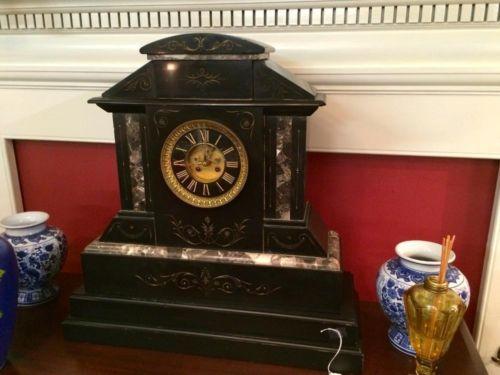 "Marble Mantle Clock   2' Tall x 23"" Wide x 9"" Deep   $1895  Butler Creek Antiques Dealer #8804  Lucas Street Antiques 2023 Lucas Dr. Dallas,..."