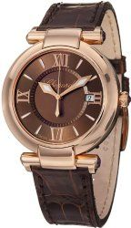 Chopard Imperiale Ladies Rose Gold Brown Leather Strap Watch 384221-5009 LBR