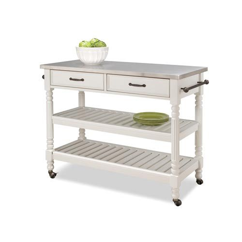 Savannah White Cart Home Styles Furniture Serving & Utility Carts Kitchen Islands & Carts