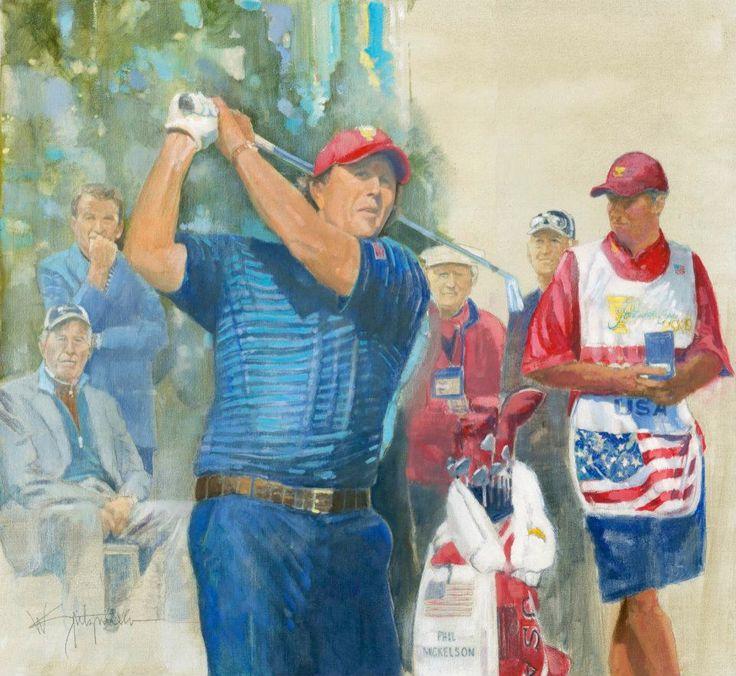 Walt Spitzmiller - Phil Mickelson 2009 President's Cup Original Oil on canvas