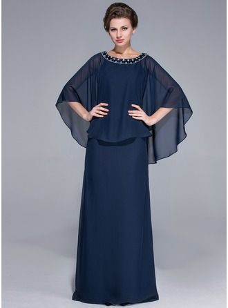Sheath/Column Scoop Neck Floor-Length Chiffon Charmeuse Mother of the Bride Dress With Beading