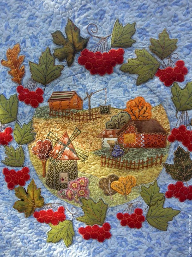 Купить Подушка лоскутная с аппликацией ОСЕННИЙ ДВОРИК, текстильная - комбинированный, лоскутная подушка, текстильная подушка