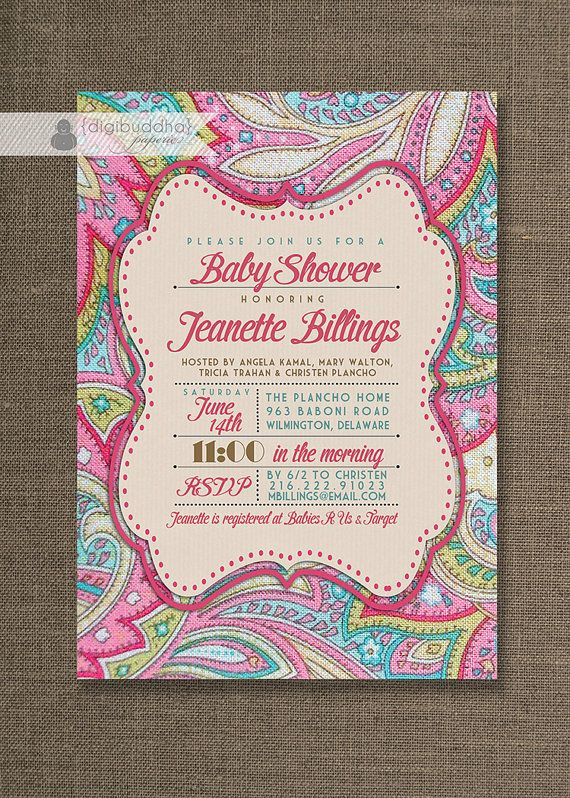 Pink Paisley Baby Shower Invitation Linen Texture Typography Baby Girl Sprinkle Pink Fuchsia DIY Digital or Printed - Jeanette Style