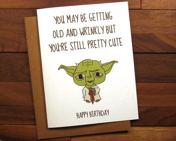 Funny Birthday Card - Star Wars Birthday Card with Recipe - Star Wars Card - Yoda Birthday Card - Yoda Card - Funny Getting Older Card