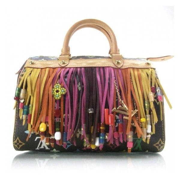 Fashionphile - LOUIS VUITTON Multicolor Fringe Speedy 25 Black ❤ liked on Polyvore featuring bags, handbags, handbags purses, multi color purse, colorful purses, colorful handbags and multi color handbag