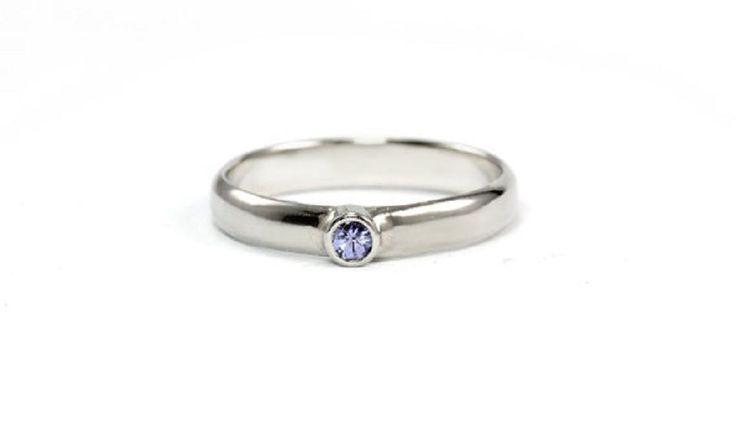Wedding Ring Amazing Round Cut 1.18 ct 14 k White Gold Blue Tanzanite Gemstone #GoldJewellery17 #Solitaire