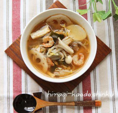 脂肪燃焼デトックス!たっぷりきのこと根菜もやしキムチスープ by ...
