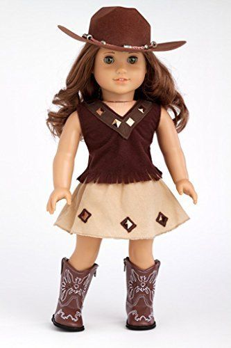 Cowgirl - 4 piece outfit includes cowgirl hat, skirt, top and cowgirl boots - American Girl Doll Clothes  Price : $29.97 http://www.dreamworldcollections.com/Cowgirl-outfit-cowgirl-American-Clothes/dp/B00CW6F83O