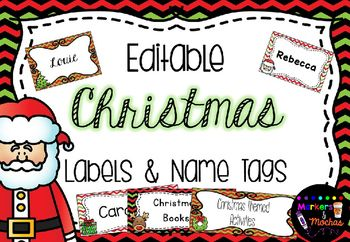 EDITABLE Christmas Labels & Name TagsThese labels and name tags are fantastic for any Christmas events you are holding in your classroom. They are also fantastic for labeling any Christmas resources, games, folders, and also great for flash cards or games! 3 different designs in both long & short labels...ALL with editable text!