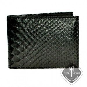 FERI MOSH Opulence - Ambrogio Wallet. Made of Black genuine python leather.  This small fold wallet is spectacularly made from real python skin and nappa leather.            An Awesome Way to Keep More of Your Money lavishly protected.