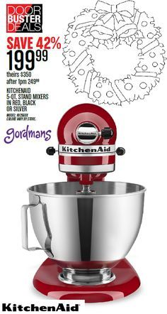 kitchenaid stand mixer sale. kitchenaid stand mixers are the perfect holiday accessory in kitchen. get all your christmas kitchenaid mixer sale c