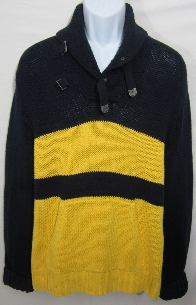 Vintage Polo Ralph Lauren Elbow Patch Shawl Collar Mens Sweater XL Navy  Yellow #Polo #