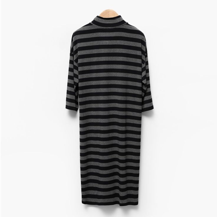 Plus Size Drop Shoulder Casual Stripped Dress - OACHY The Boutique #stripped, #dress, #casual, #oachy, #boutique