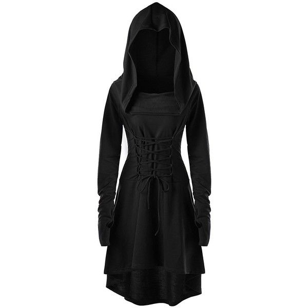 Womens Hooded Robe Lace Up Vintage Pullover High Low Long Hoodie Dress... ($11) ❤ liked on Polyvore featuring dresses, hi low dress, short front long back dresses, long length dresses, short and long dresses and mullet dresses