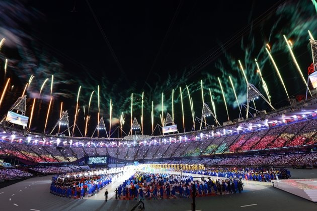 Fireworks explode over the stadium during the Closing Ceremony on Day 16 of the London 2012 Olympic Games at Olympic Stadium on August 12, 2012 in London, England.: Album Photo, London 2012, 2012 Olympics, Ceremony Photo, 2012 Close, Olympics 2012, Fireworks Exploding, Close Ceremony From, Olympics Close
