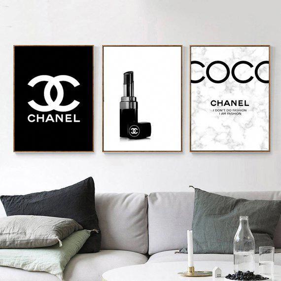 Inspired By Chanel Makeup 3 Prints Printable Fashion Wall Art Logo Set Of 3 Marble Prints Fashion In 2020 Fashion Wall Art Chanel Wall Art Fashion Wall Art Chanel