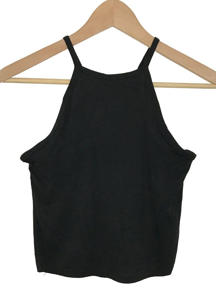 high neck ribbed crop top (black)