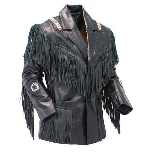 Black Cow Boy Leather Jacket2 600x600 Leather Jacket Style Fringe Leather Jacket Black Leather Fringe Jacket