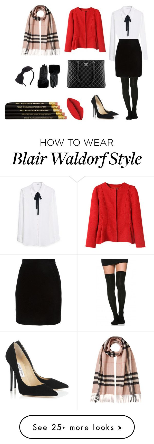 """Blair waldorf"" by shshshshshshshsh on Polyvore featuring Mode, MANGO, Jimmy Choo, Thierry Mugler, Chanel, Burberry, Ted Baker, Kate Spade, women's clothing und women's fashion"