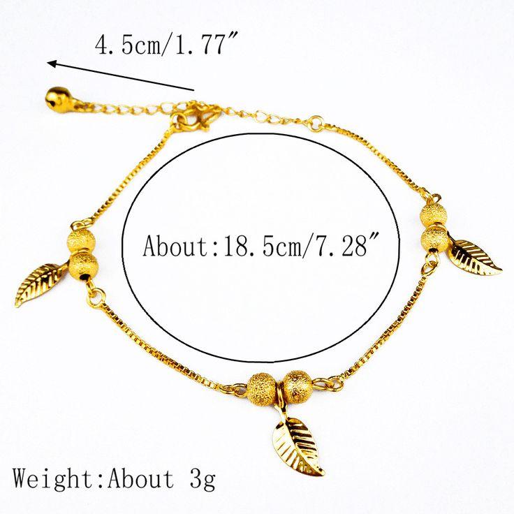 Designer 18K Gold Anklets Simple Leaves Ball Tassel Anklet for Women Gift - NewChic