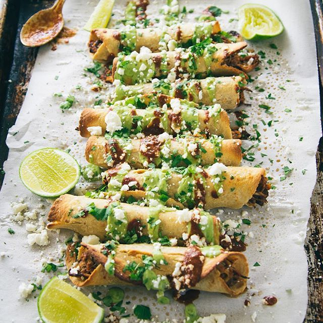 Chicken Flautas with Avocado Crema, Ancho Chili, & Tamarind Sauce // Hatchery. Find this #recipe and 40+ more Mexican food recipes on your Mexican Feed at https://feedfeed.info/mexican?img=893077 #feedfeed