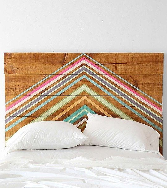 DIY Washi Tape Headboard / Click for More Home Ideas