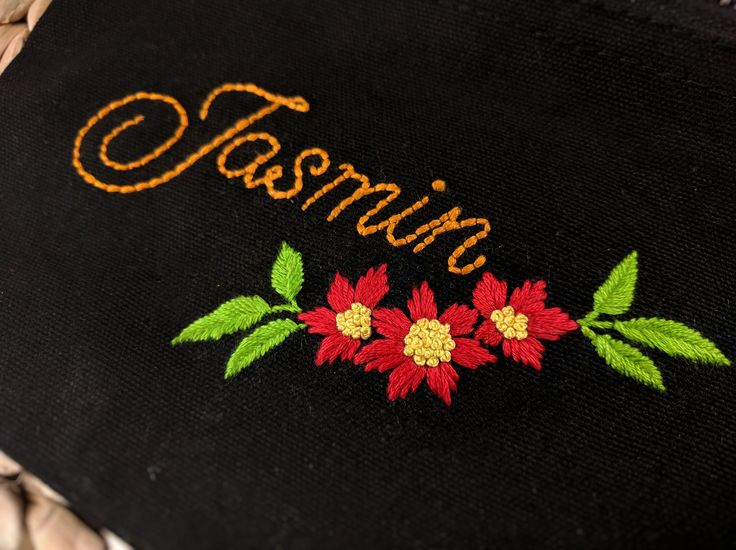 A personalized pouch bag with pretty florals!! #handembroidery #name