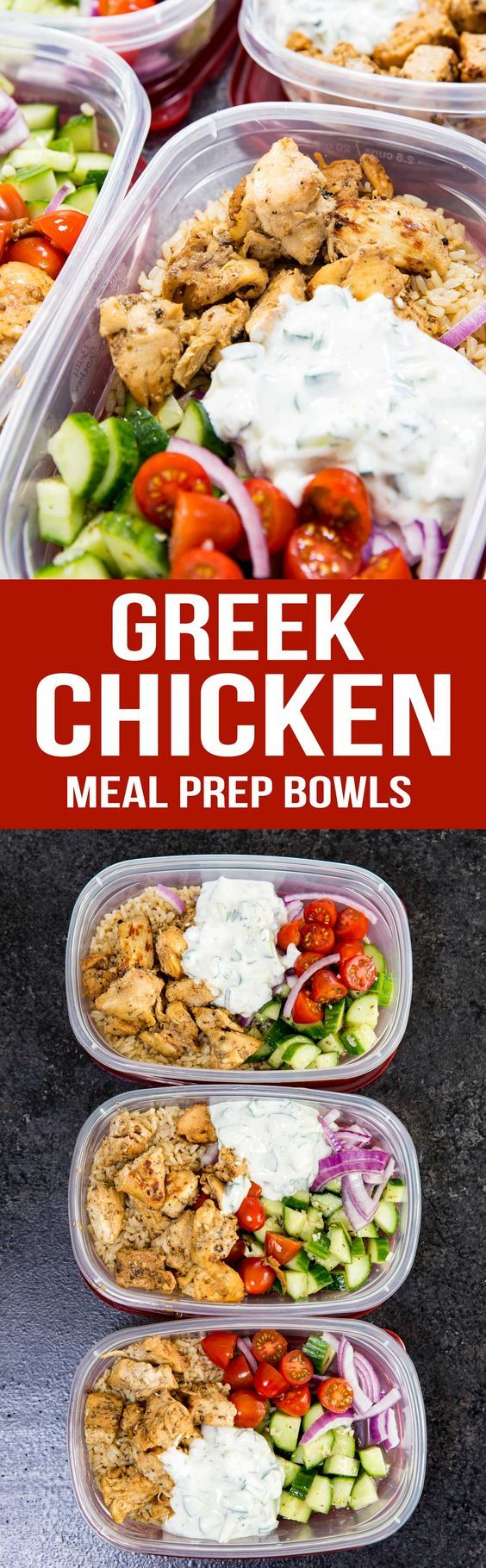 Greek Chicken Meal Prep Bowls are the best!  Marinaded chicken, cucumber salad, and tzatiki sauce. YUM!