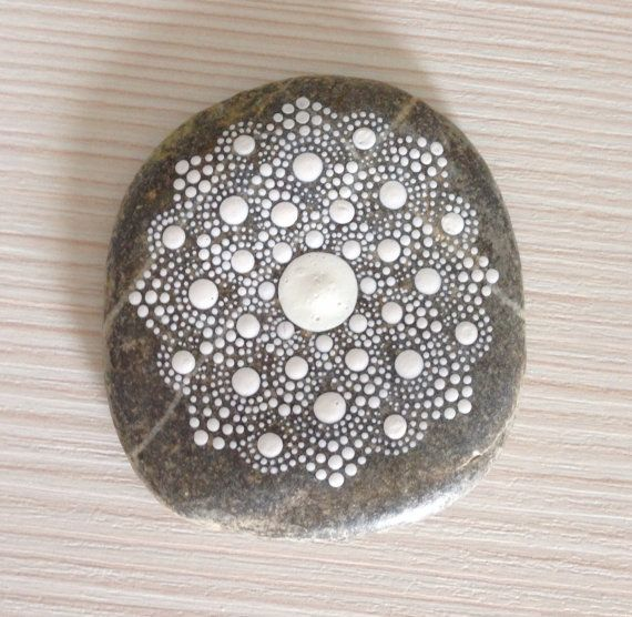 Dot Art Mandala Painted Stone White Gift Decoration ...