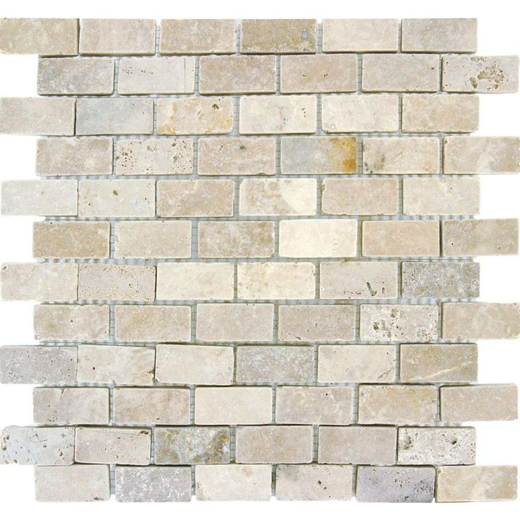 Ms International Chiaro Brick 12 In X 12 In X 10 Mm Tumbled Travertine Mesh Mounted Mosaic